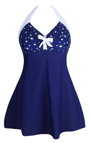 Her One-piece Flattering Swimwear White Starlet Navy Swimdress
