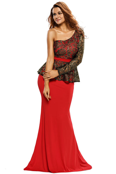 Her One Shoulder Floral Lace Peplum Top Long Skirt Red Formal Dress
