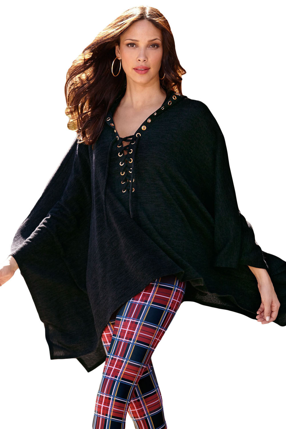 Her Oversize Fashionable Grommet Lace-up Poncho in Black