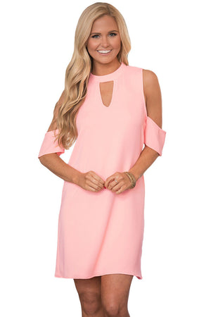 Her Light Pink Artful Keyhole and Cold Shoulder Trendy Mini Dress