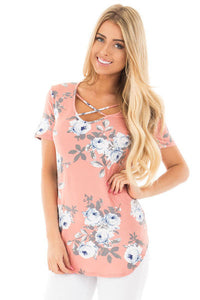 Her Pink Vibe Floral Print Tee Shirt with Crisscross Neck Top