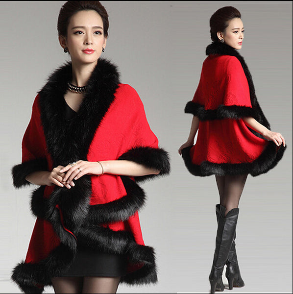 Her Red Cashmere Poncho With Contrast Faux Fox Fur Trim Collar