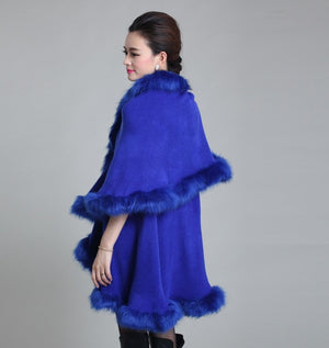 Her Blue Cashmere Poncho With Contrast Faux Fox Fur Trim Collar