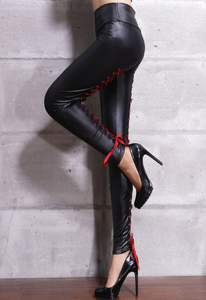 Her Red Contrast Lace-Up Back Stretch Leather Leggings