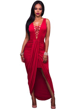Her Red Deep Crisscross V Neck Maxi Draped Party Dress