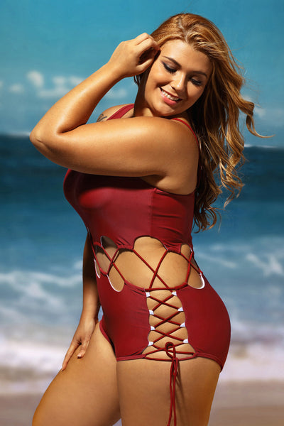 Her Red Lace Up Cutout Chic Monokini One Piece Swimsuit
