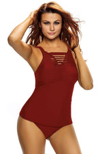 Her Red Ruched Tank Top Tankini Set Swimwear