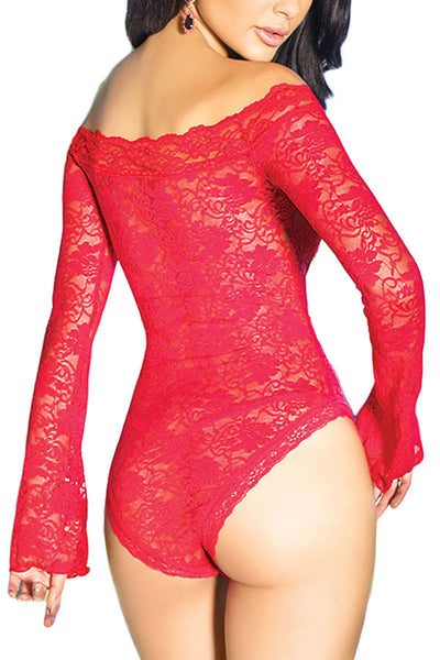 Her Red Teddy Sexy Sheer flared Sleeve One Piece Lingerie