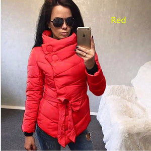 Her Red Winter Casual Slim Irregular Cotton Turtleneck Button Jacket