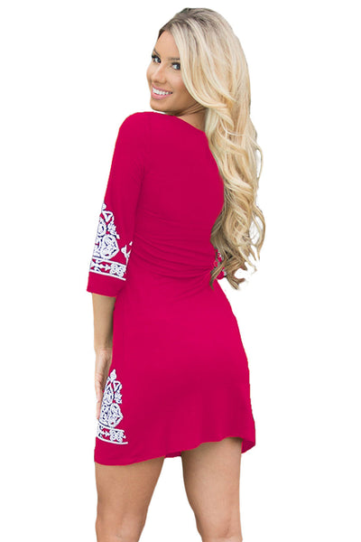 Her Retro Rosy Tribal Style Pattern Flattering Short Dress