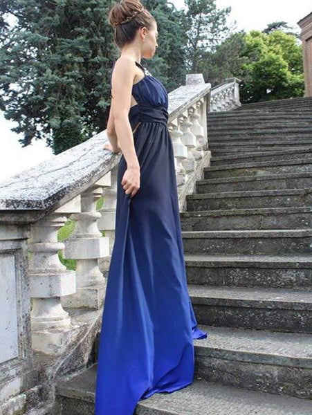 Her Rhinestone Design One-Shoulder Elegant Prom Dress