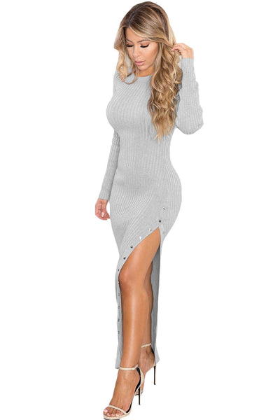 654990eb5c7 Her Ribbed Knit Maxi Dress Grey Trendsetter Long Sweater Dress –  HisandHerFashion.com