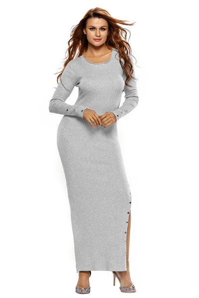 0cedf160d9c Her Ribbed Knit Maxi Dress Grey Trendsetter Long Sweater Dress ...