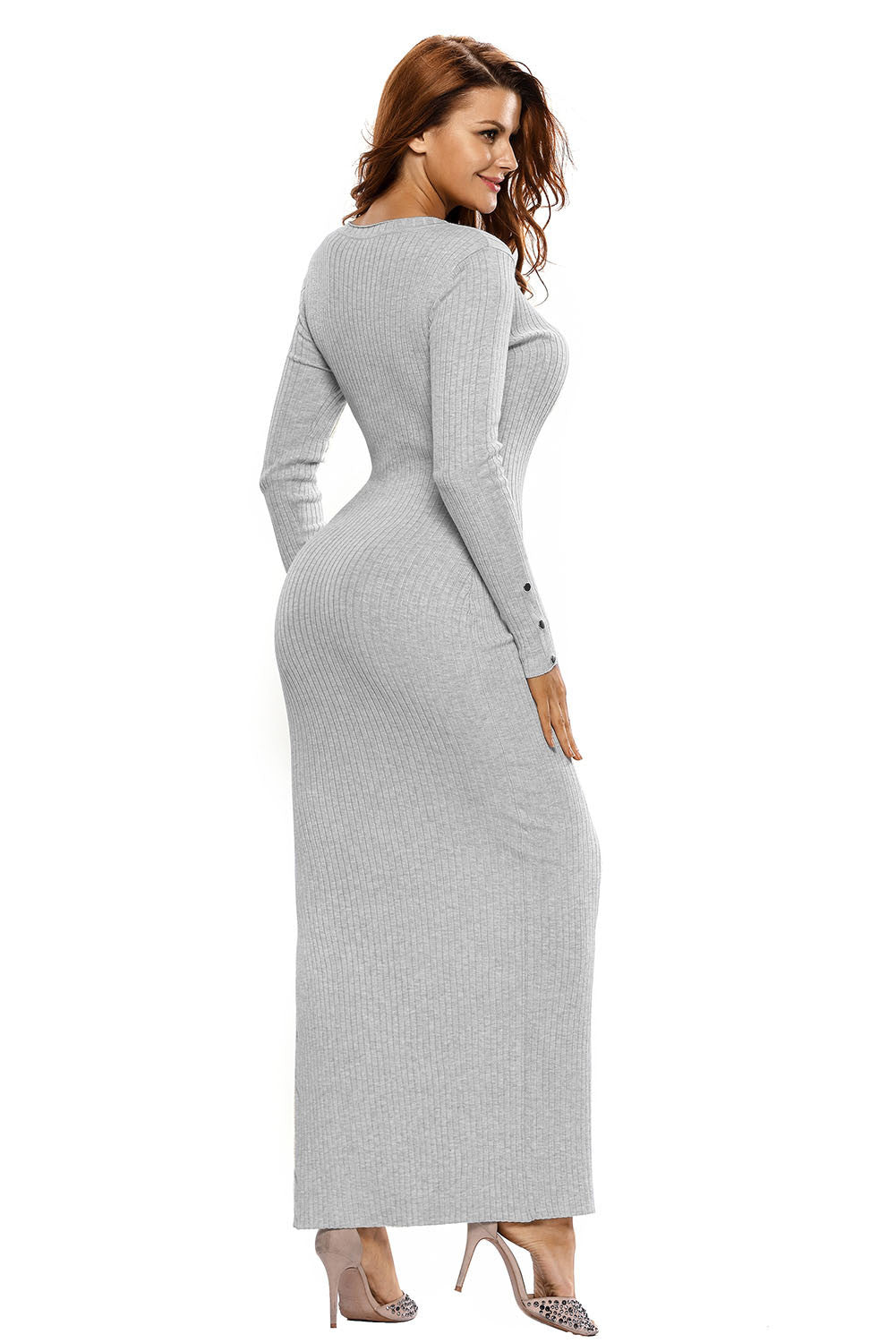 Her Ribbed Knit Maxi Dress Grey Trendsetter Long Sweater Dress