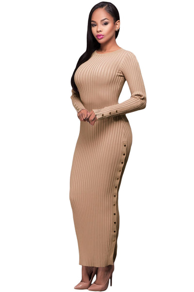 c4b2a7554222e Her Ribbed Knit Maxi Dress Khaki Trendsetter Long Sweater Dress ...