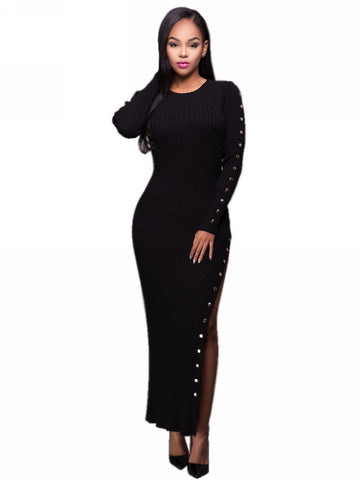 Her Ribbed Knit Maxi Dress Black Trendsetter Long Sweater Dress