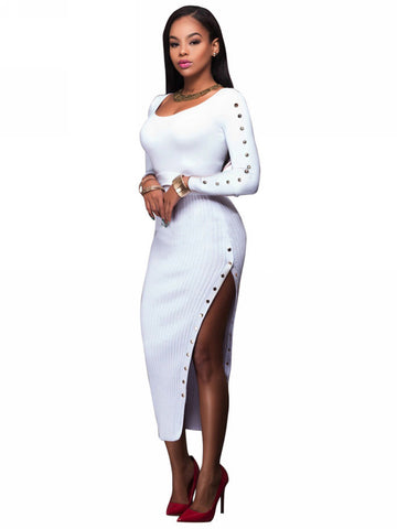 Her Ribbed Knit Maxi Dress White Trendsetter Long Sweater Dress