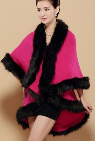 Her Rose Red  Cashmere Poncho With Contrast Faux Fox Fur Trim Collar