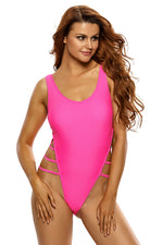 Her Rosy Strappy High Leg Lace Up Back Fabulous One Piece Swimsuit