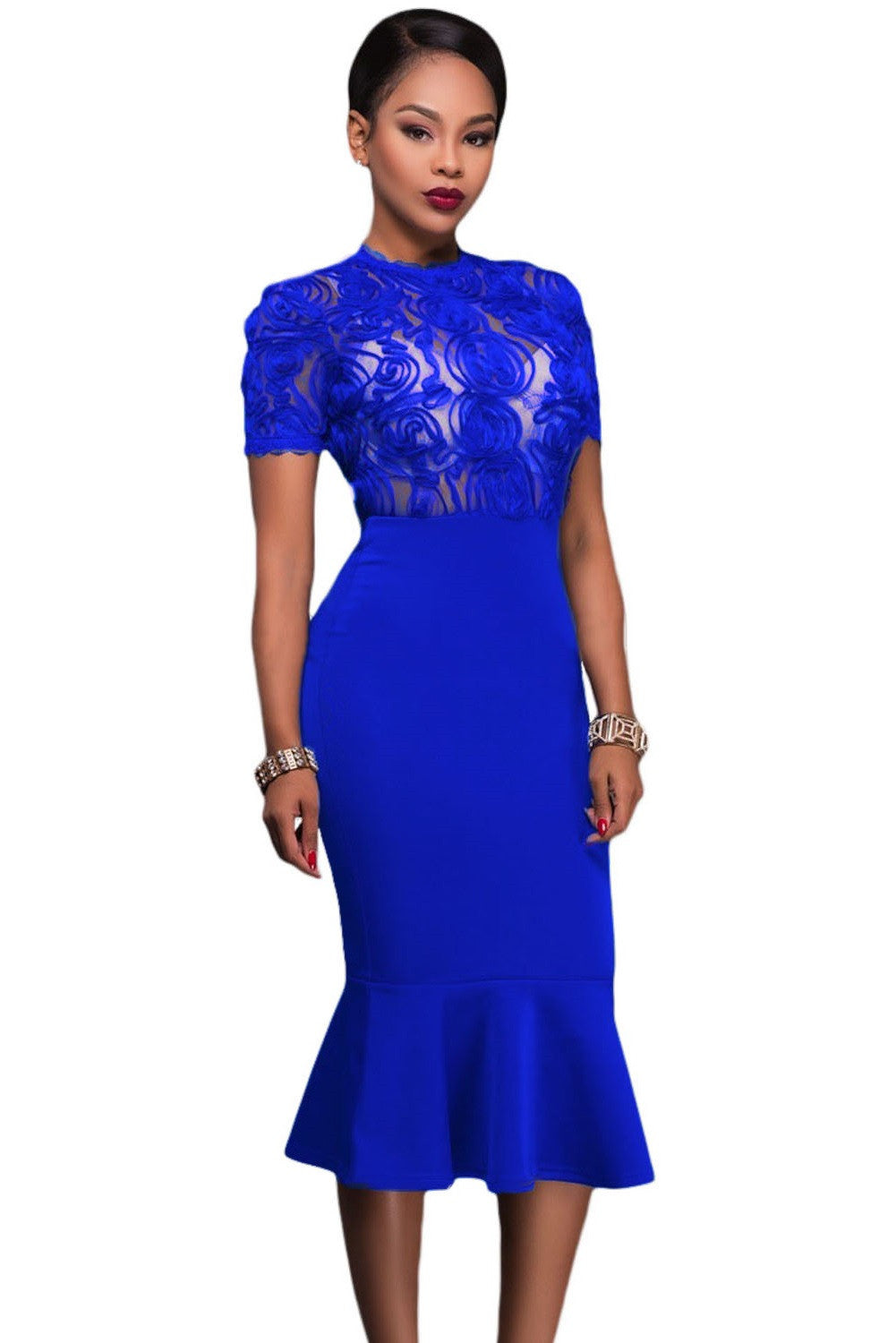 Her Royal Blue Sheer Lace Top Bodycon Midi Party Dress