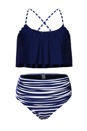 Her Gorgeous Glowing Top and Striped Bottom High Waist Swimwear