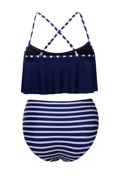 Her Gorgeous Black Top and Striped Bottom High Waist Swimwear