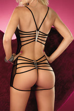 Her Sexy Strappy Back Sheer Front Black Mesh Babydoll Chemise Lingerie