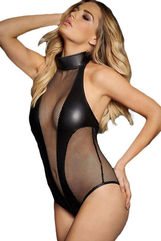 Her Sexy Styling Black and Bold Fishnet Cutout Leather Teddy Lingerie