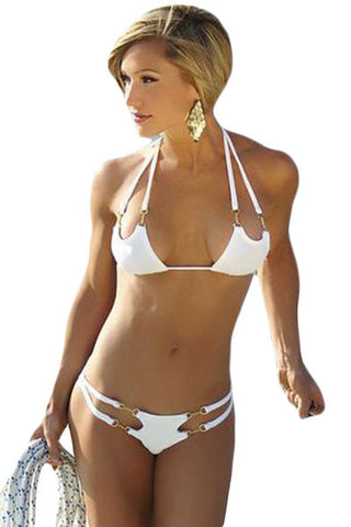 Her Sexy White Open-Tri 2-Pieces Summer Hot Bikini Swimsuit