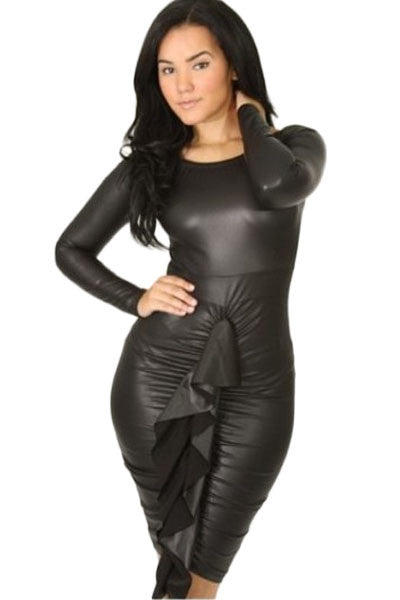 be578f316a Her Shimmery Leather Fabric Front Ruffled Long-sleeve Leather Dress –  HisandHerFashion.com