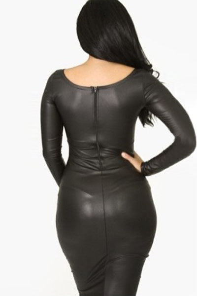 Her Shimmery Leather Fabric Front Ruffled Long-sleeve Leather Dress