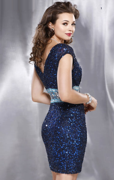 Her Silk V-Neck Sequined Backless Cocktail Dress
