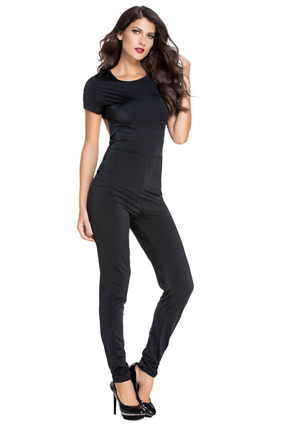 Her Simple Design Short Sleeve Tight-fitting Jumpsuit with Back Cutout
