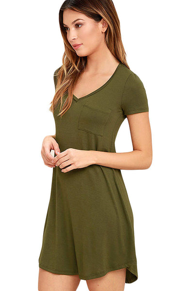 Her Simple Trendy Army Green Sweetheart Neck Shirt Mini Dress