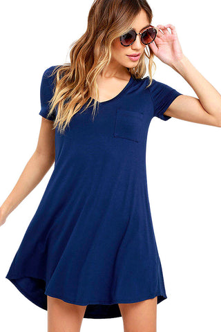 Her Simple Trendy Blue Sweetheart Neck Shirt Mini Dress