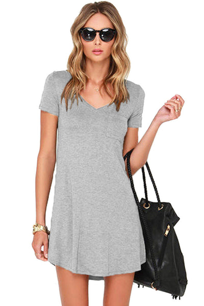 Her Simple Trendy Grey Sweetheart Neck Shirt Mini Dress