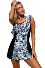 Her Sizzling Style Monochrome Jungle Swim Dress with Shorts