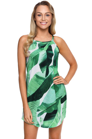 Her Sleek Fashion Green Leaf Print Navy Sleeveless Dress