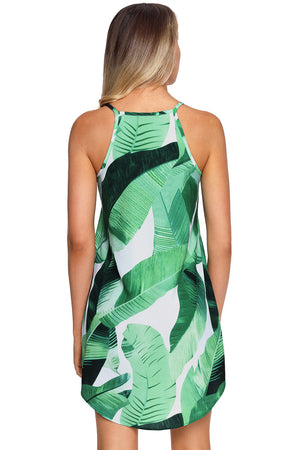 Her Sleek Fashion Palm Tree Leaf Print Ivory Sleeveless Dress