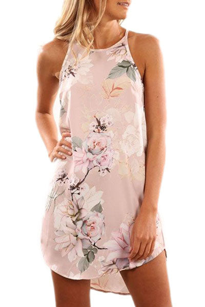Her Sleek Fashion Summer Floral Print Pink Sleeveless Dress
