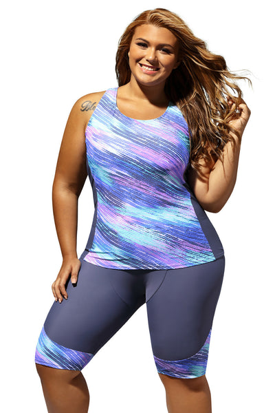 0041313f9a Her Sleeveless Top and Cropped Pants Two Piece Plus Size Swimsuit –  HisandHerFashion.com