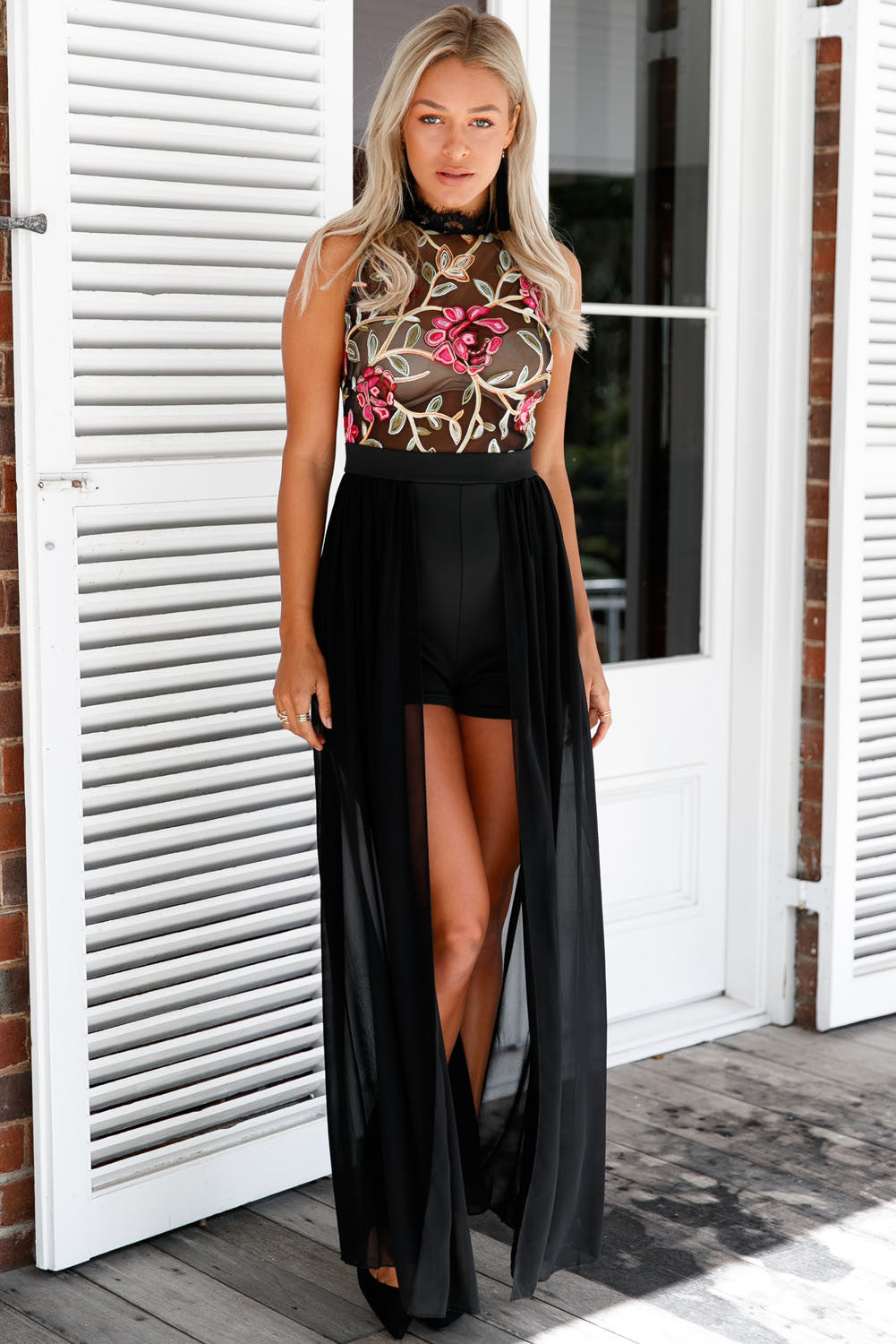 Her Snazzy Black Sheer Mesh Embroidery Chiffon Romper Maxi Dress