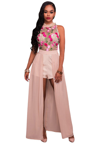 Her Snazzy Pink Sheer Mesh Embroidery Chiffon Romper Maxi Dress