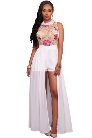 Her Snazzy White Sheer Mesh Embroidery Chiffon Romper Maxi Dress