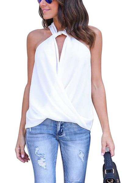 Her Soft Elegant White Athena Drape Wrapped Tank Top
