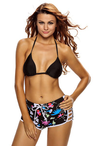 Her Solid Black Floral Trendy Halter Bikini Boardshort Swimsuit