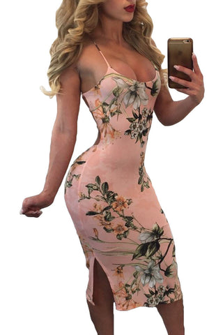 Her Spaghetti Strap Summer Style Lace Up Back Peachy Floral Dress