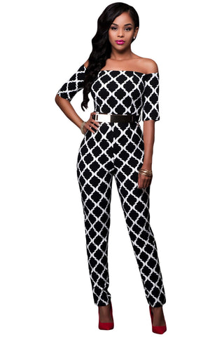 Her Spectacular Monochrome Print Black Belted Off Shoulder Jumpsuit