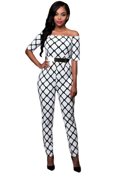 5cbda80e3e1b0 Her Spectacular Monochrome Print White Belted Off Shoulder Jumpsuit –  HisandHerFashion.com