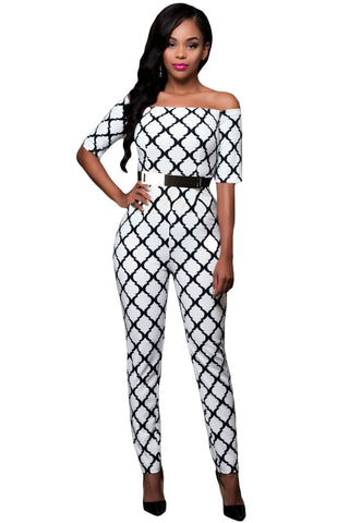 Her Spectacular Monochrome Print White Belted Off Shoulder Jumpsuit
